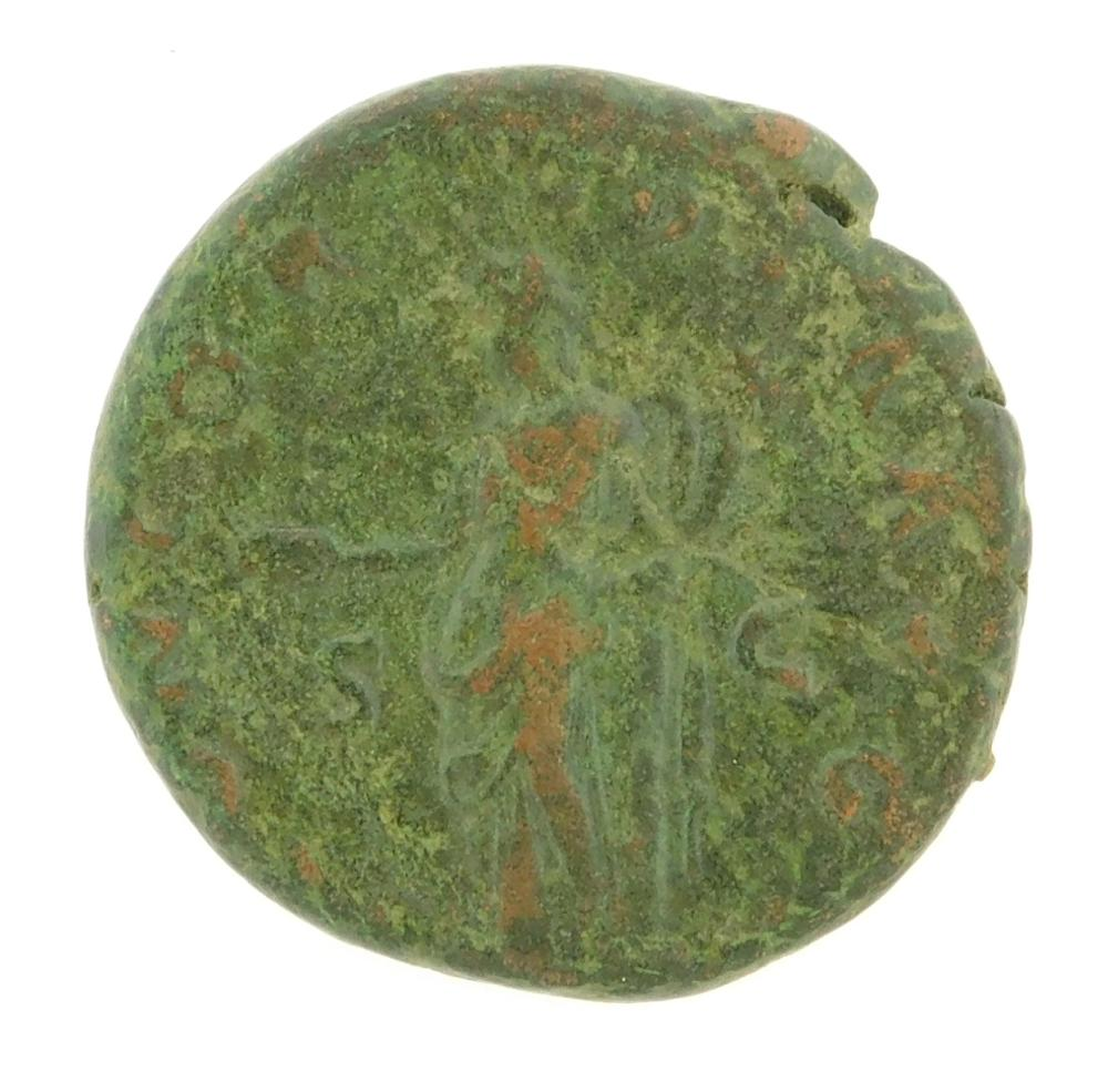 COIN: Ancient Rome. 128-136 AD Sabina Wife of Hadrian AE As. Concordia standing left. nVF with green patina. 11.48 Grams, 24.9mm [Di...