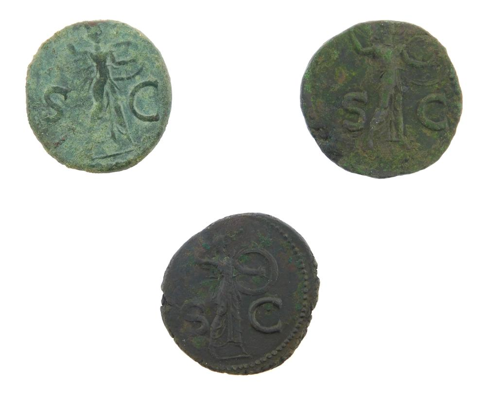 COINS: Ancient Rome Claudius (41-54 AD) Trio. (3) Ae As, Minerva right with javelin. gVF , gVF with green patina, gEF. 12.0 Grams, 2...