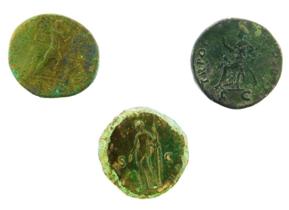 COINS: Ancient Rome Trajan (98-117 AD) Trio. Ae Dupondius, Trajan between 2 Trophies. nVF with small deposits. 11.49 Grams, 25.8 mm....