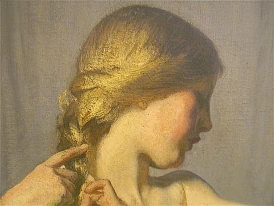 Sir George Clausen (British, 1852-1944), oil on canvas depicting seated female nude braiding blonde hair, olive green covering drape...