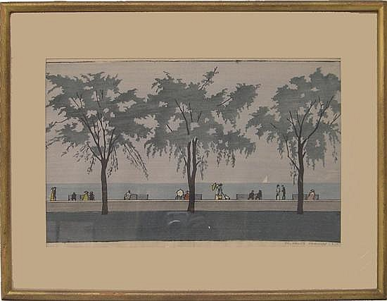 "Elizabeth Colwell (American 1881-1954), color woodcut, titled ""The Three Elm Trees by the Lake,"" in shades of grayish-blue and green..."