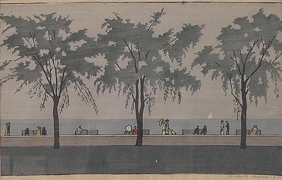 Elizabeth Colwell (American 1881-1954), color woodcut, titled