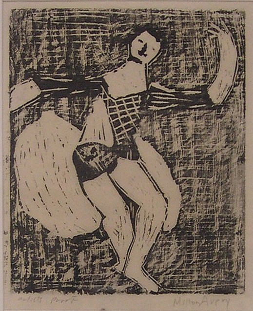 """Milton Avery (American 1885-1965), woodcut, entitled """"The Dancer"""", pencil signed LR, artist's proof LL, labels verso including Renta..."""