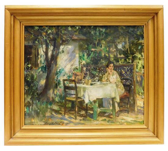 Irving Ramsey Wiles (American, 1861-1948), oil on canvas, c. 1932, portrait of female figure sitting resting her cheek against her h...