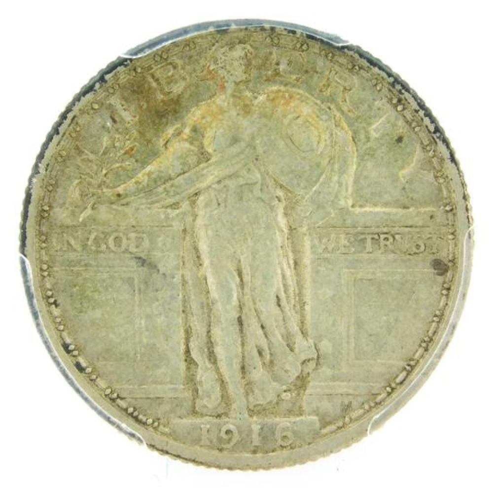 †COIN: 1916 Standing Liberty Quarter, PCGS graded extremely fine-45, nicely toned.