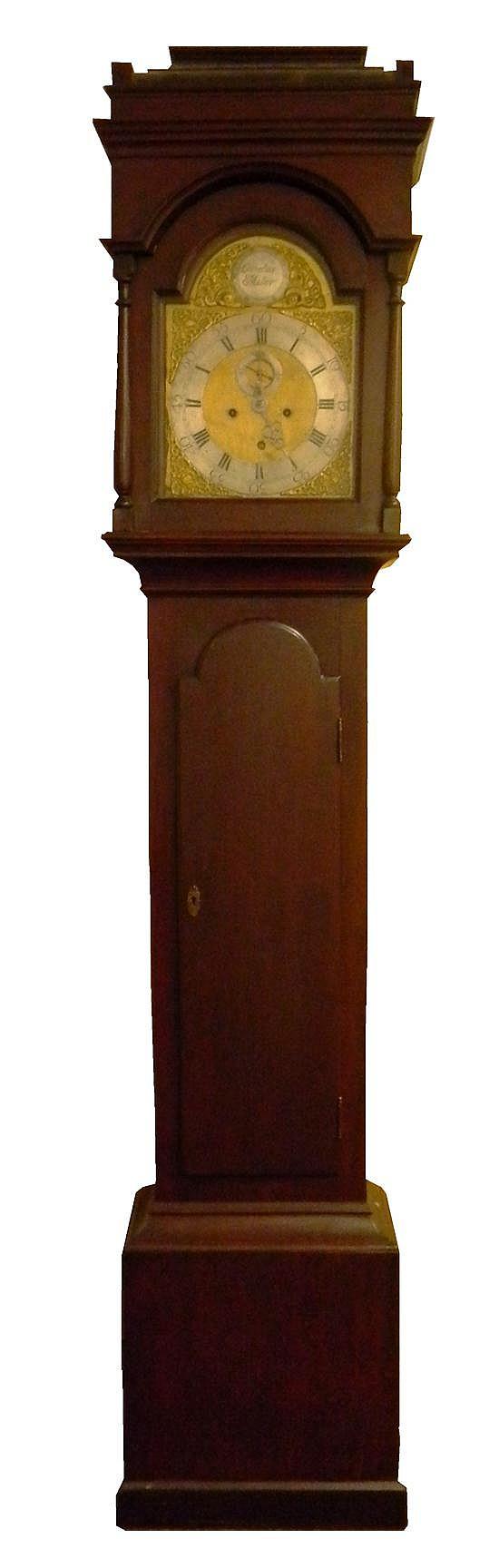 Cornelius Miller Tall Case Clock, circa 1770, walnut case, sarcophagus top intact, Queen Anne walnut case with tombstone door, finis...