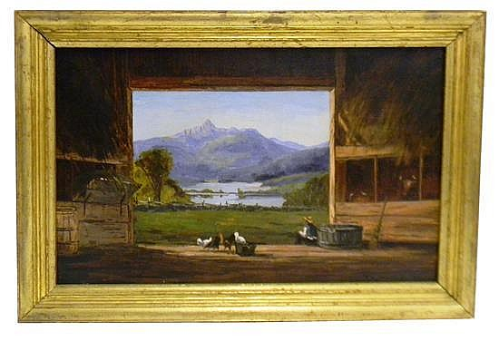 "Frank Shapleigh (American, 1842-1906), ""Mt. Chocorua from barn at Tamworth, NH,"" 1879, oil on canvas depicting farmer seated in door..."