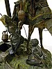 Image 5 for Franz Bergman cold-painted bronze mulifigural group sculpture depicting Arabian trader mounted on camel accepting water jug from vei...