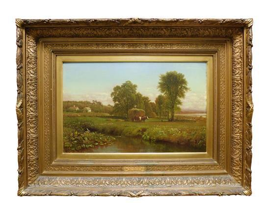 """Aaron Draper Shattuck (American, 1832 - 1928),""""Connecticut Pastoral with Hay Wagon"""", oil on board, depicts pastoral scene with hay w..."""