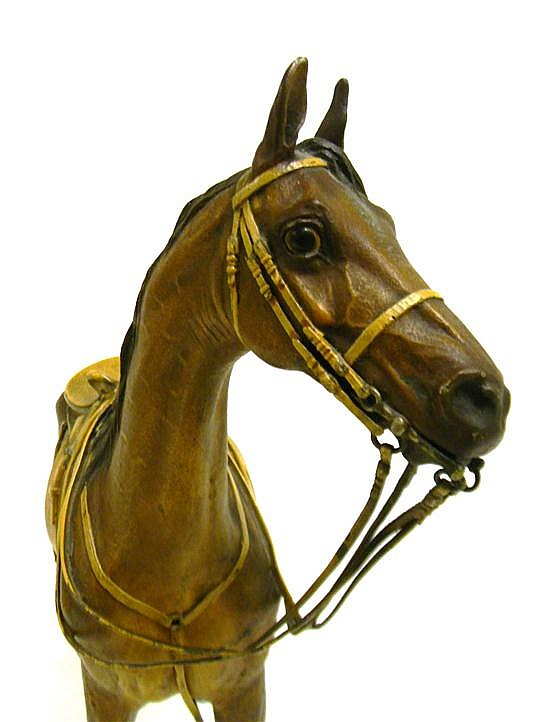 Franz Bergman (Austrian, 1861-1936), cold painted bronze figure of a stallion, fitted with side saddle, bearing stamped Bergman amph...