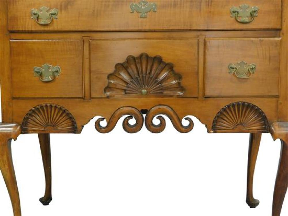 New England bonnet-top high chest, 18th C. elements with alterations and restorations, figured maple with pine secondary, carved she...