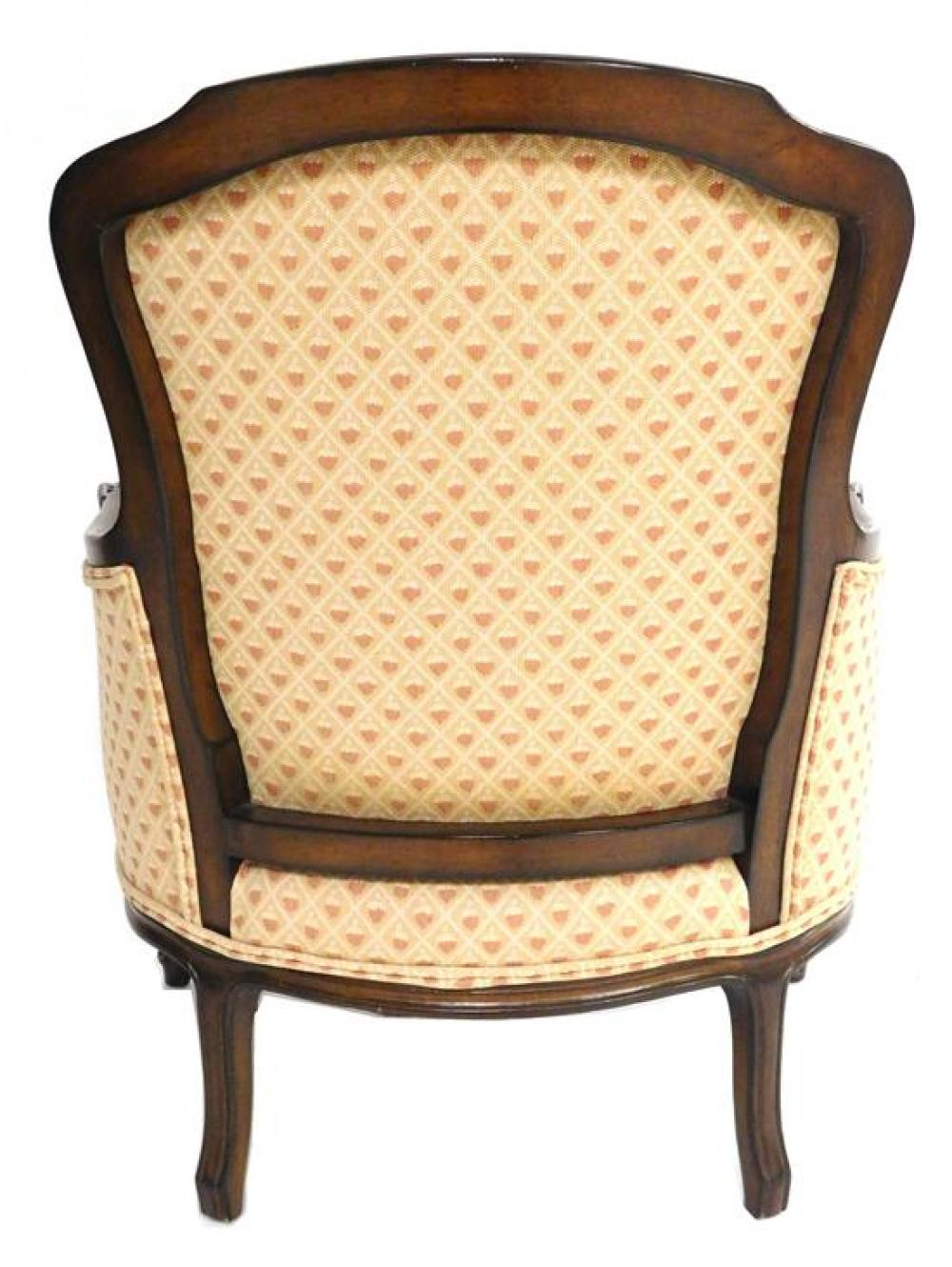 "French style armchair, ""Meyer Gunther Martini"" NY label, upholstry features coral, tan and cream acorn-like design, 34"" h., wear con..."