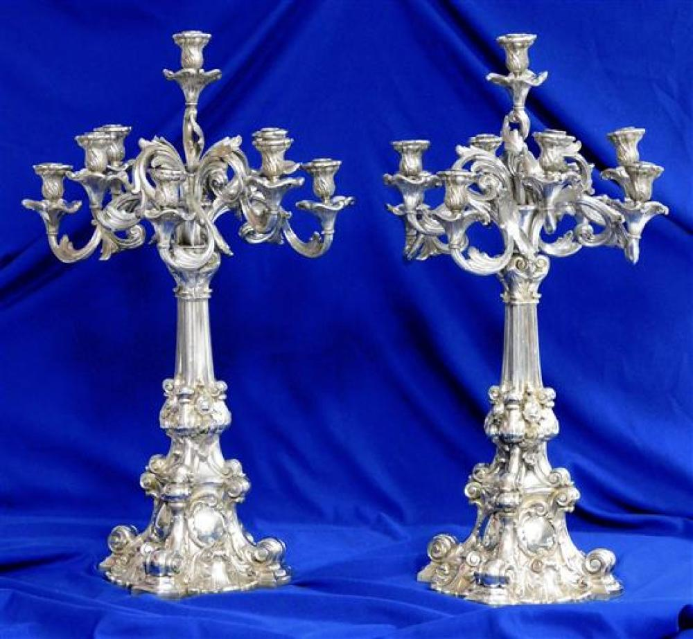 "SILVER: Heinrich Friedeberg, pair of Baroque German silver nine-light candelabras, pre-1886, maker's hallmark with ""14 Loth"" (875/10.."