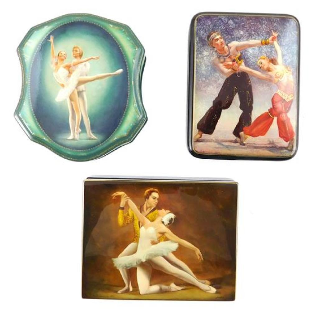 """Russian hand-painted lacquer boxes, three ballerina themed with couples dancing, including: """"Sleeping Beauty"""" by Sergey Fomichev, de..."""