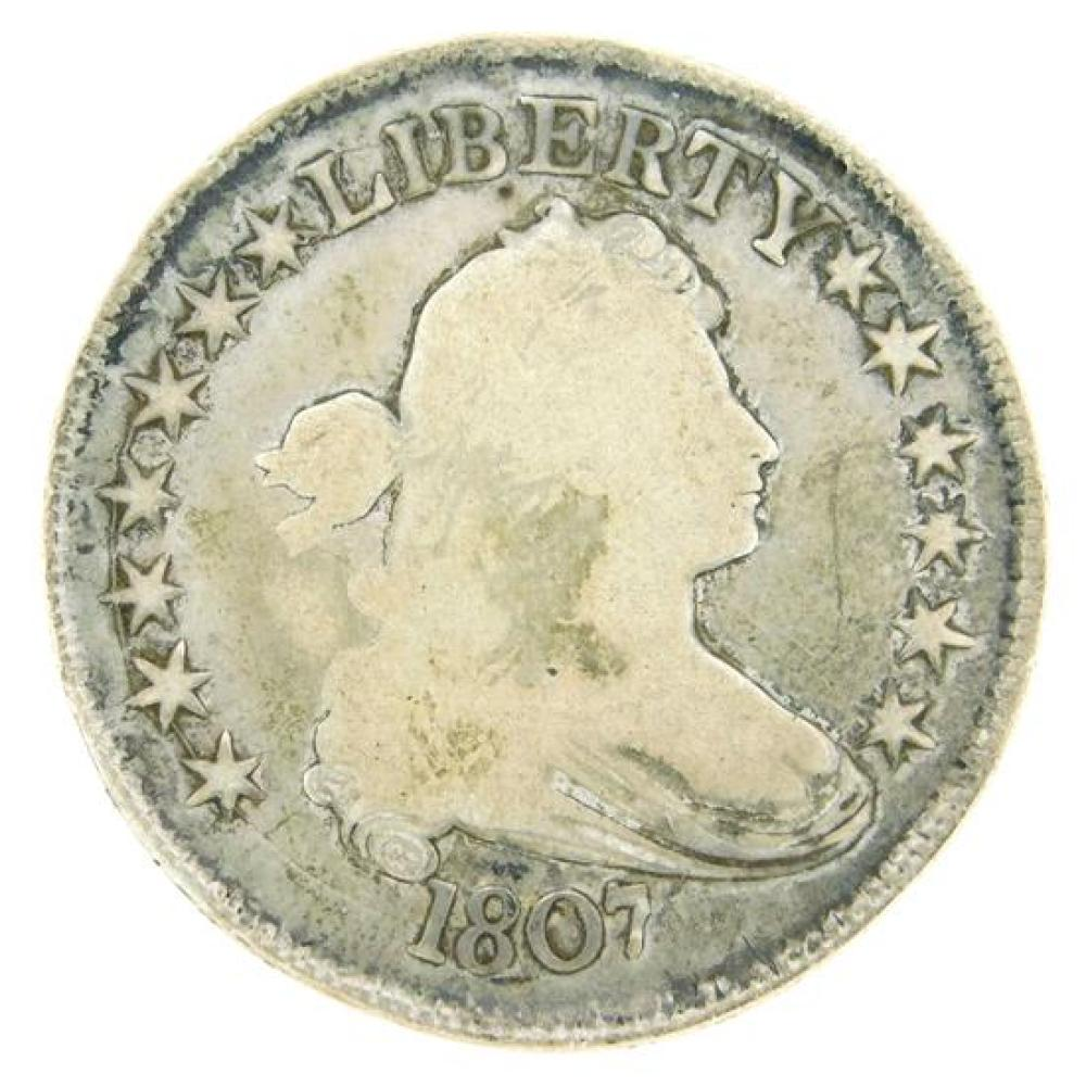 COIN: 1807 Draped Bust Half Dollar, Good condition, the obverse is slightly dished, probably as made. [NOTE: ACCORDING TO THE STATE...