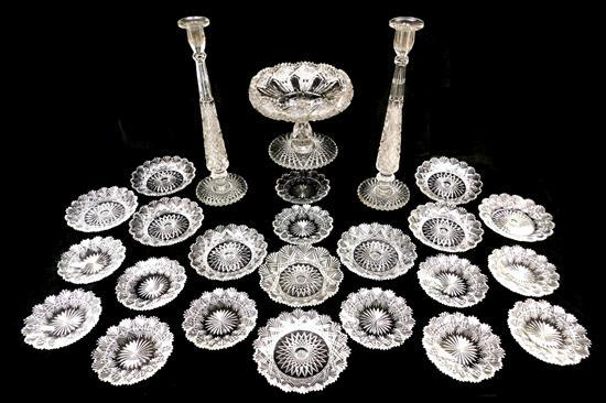 Cut glass suite, American brilliant cut, late 19th C./early 20th C., twenty-five pieces, saw tooth rims, overall fine condition, som...