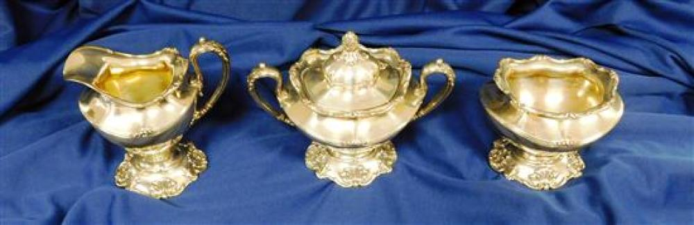 STERLING SILVER: Seven piece tea service including: stertling tray; kettle on stand [dent near one support peg]; coffee pot; teapot;...