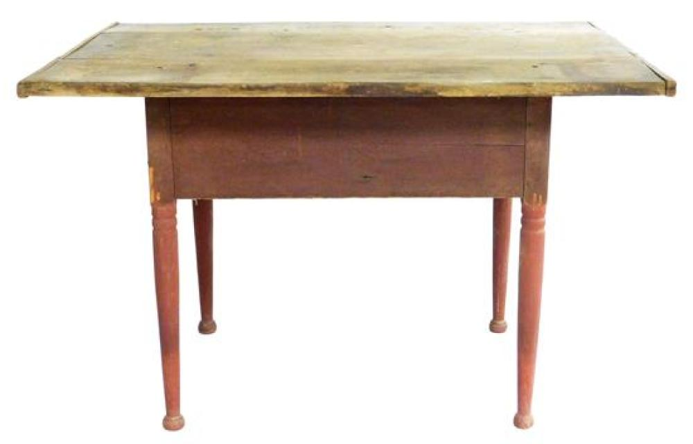 Tavern table, American, late 18th/19th C., pine bread board top with overhang, single drawer with woodem dowel pull and older red fi...