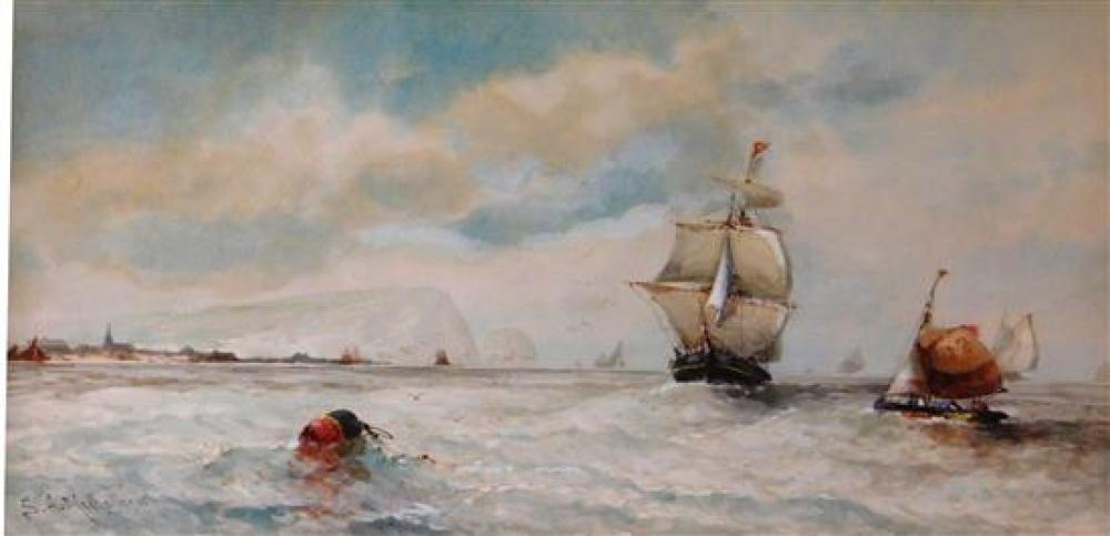Samuel A. Mulholland (England, 19th/20th C.), two watercolors, both sea themed scenes, the first with large beached boat and lots of...