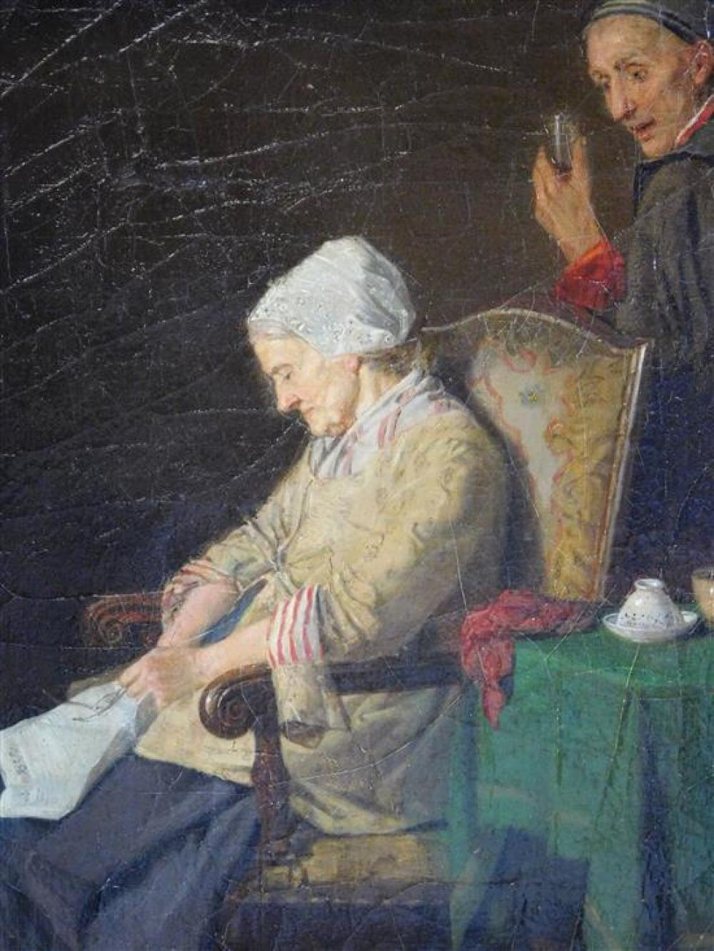 Attributed to Karl J. Lorck (Norway, 1829-1882), oil on canvas panel, genre scene of two people, an elderly woman sits in chair asle...