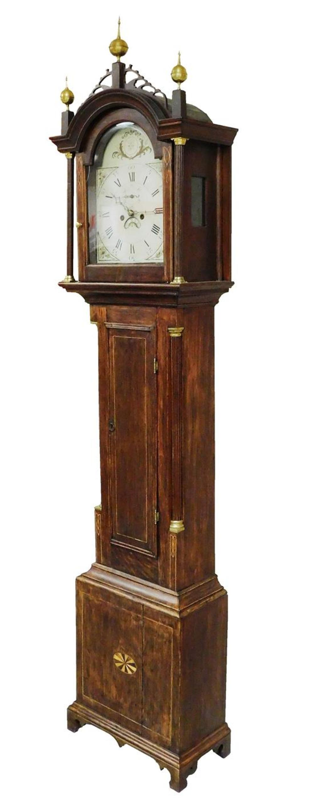 CLOCK: Tall clock, attributed maker Ivory Hall of Concord, New Hampshire, c. 1815-1820, birch with cherry trim in hood moldings, lig...