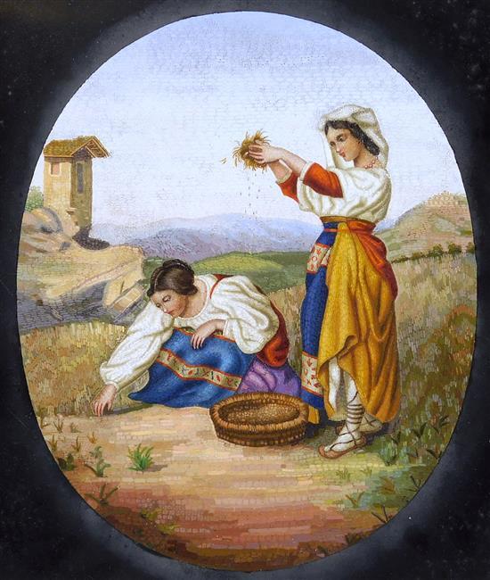 Italian school micro mosaic genre scene, c. 1900, depicts two women wearing Continental ethnic dress in a rural landscape, one kneel...