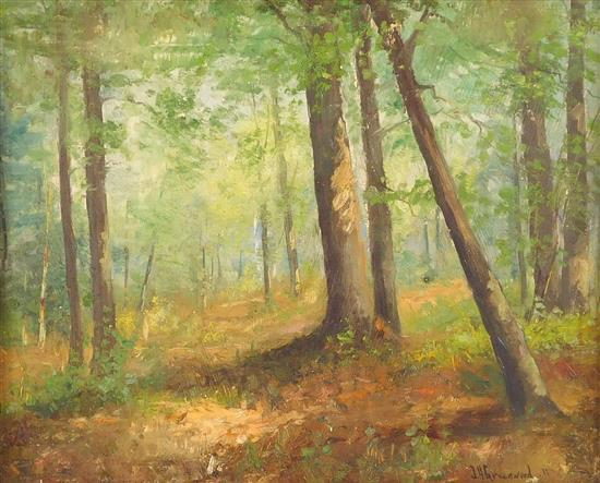 Joseph H. Greenwood (Massachusetts, 1857-1927), oil on board, lush forest landscape with hint of a path to the left of center, many...