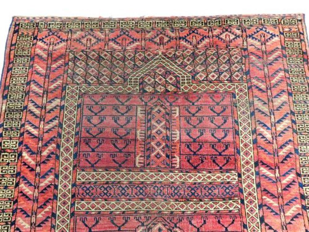 """RUG: Antique Bokara Prayer rug, 4'6"""" x 4', light read field with navy and cream accents, wool on wool, unraveled ends, low areas thr."""