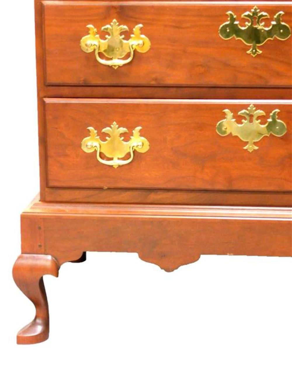 Eldred Wheeler of Hingham, Mass., Connecticut River Valley chest on frame, reproduction of a late 18th C. form, unusual scalloped to...