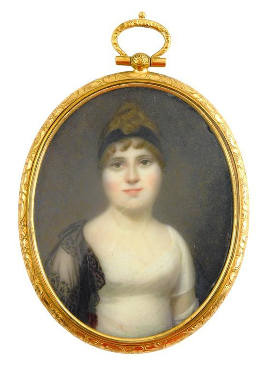 MINIATURE: Woman, oval support, likely ivory, upswept brown hair with black band, sheer black shawl on one shoulder, white Empire wa...