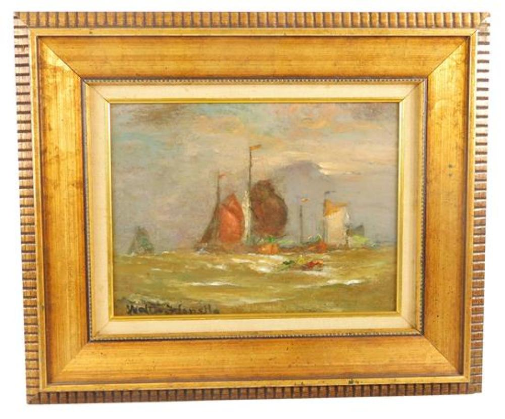 """Walter F. Lansil (American, 1846-1925), oil on board, """"Dutch Boats Making Harbor"""", many sail boats and a row boat in choppy water, m..."""