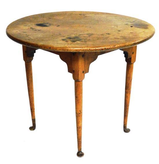 """Rhode Island tea table, c. 1750, maple, rare round table with straight turned legs ending in pad feet, 30"""" diam., 25"""" h., wear consi..."""