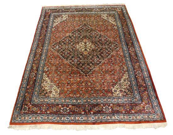 "RUG: Vintage Indo-Persian Bidjar style Feraghan design, 11'9"" x 8'10"", wool on cotton, edge wear, minor moth chews, overall good con."