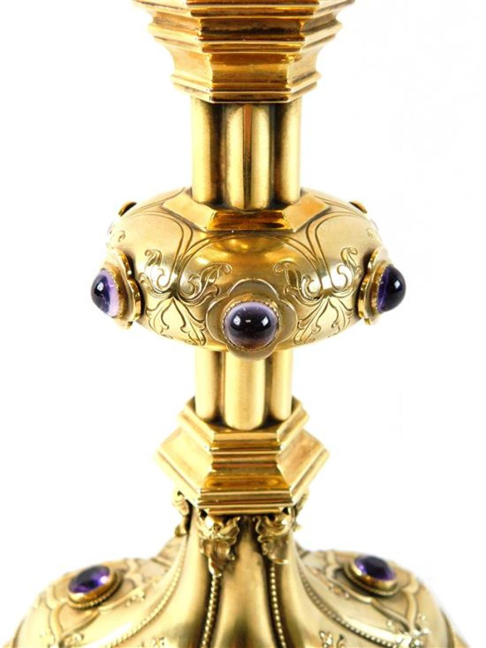 Chalice, 14K and silver with amethyst accents, stamped 14K yellow gold cup with gold tone base, chalice measures 10 ¾ inches tall wi...