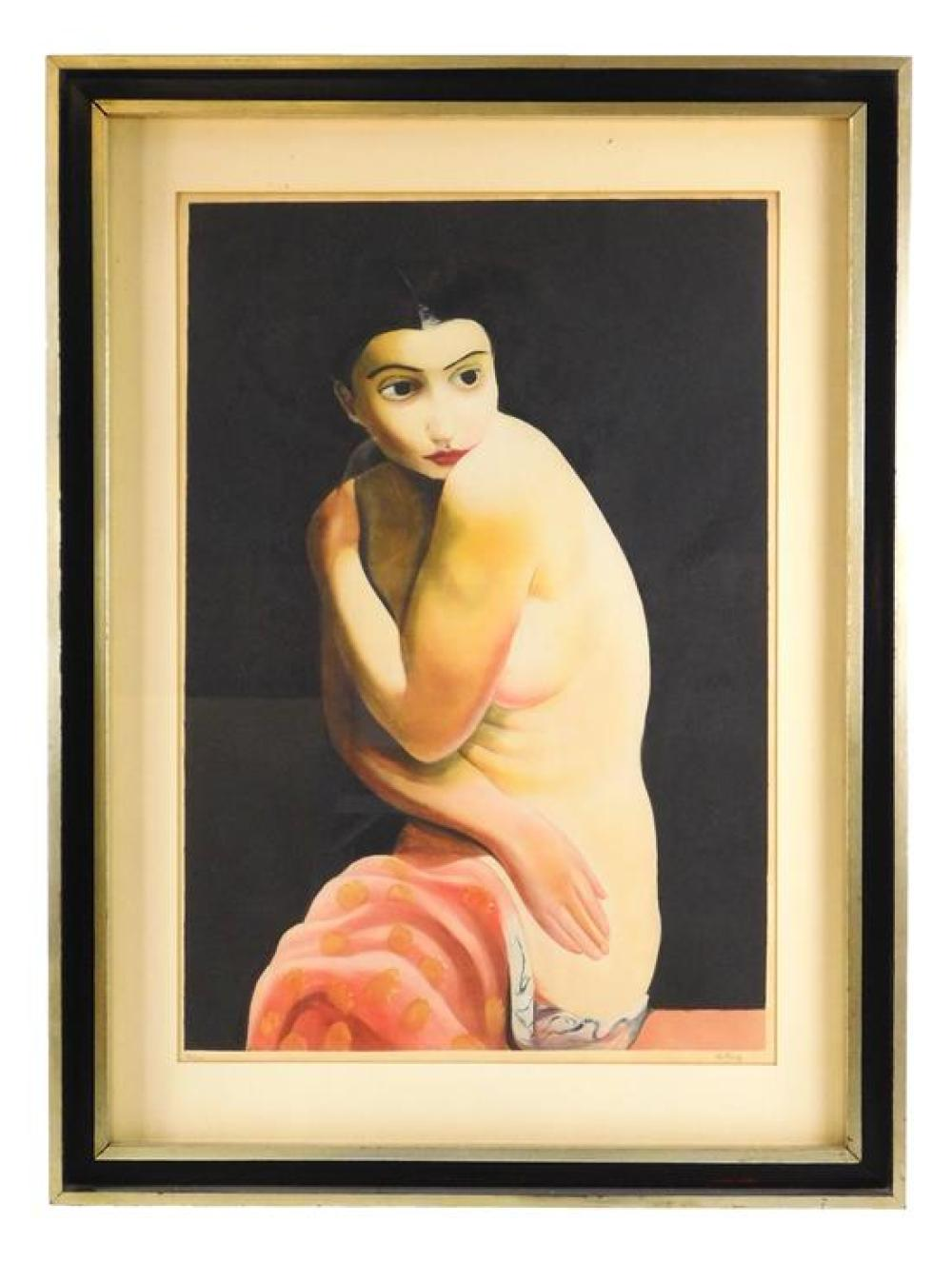 Moise Kisling (Poland/France, 1891-1953), color aquatint, nude woman against black background, her legs wrapped in salmon pink fabri...