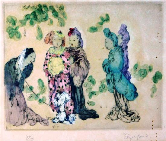 Elyse Ashe Lord (England, 1900-1971), colored etching, five women in colorful dress gather outside, they all congregate around a sma...