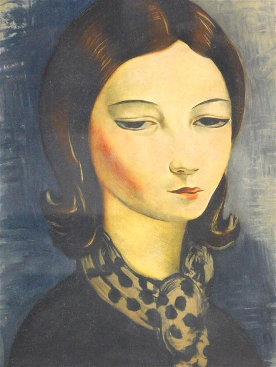 Moise Kisling (Poland/France, 1891-1953), color aquatint, portrait of brunette woman in spotted scarf, she looks down in a calm gaze...