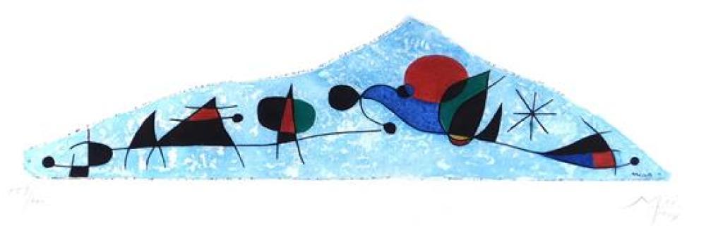 """Joan Miro (Spanish, 1893-1983), """"Et l'oiseau s'enfuit les pryamides aux flancs ensanglantes par la chute de rubies"""", etching/aquatin."""