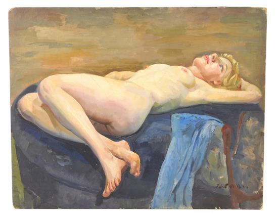 John Beatly Newman (Canada, b. 1933), oil on canvas board, blonde woman lays nude on bed, a bench beside her holds a blue cloth, she...