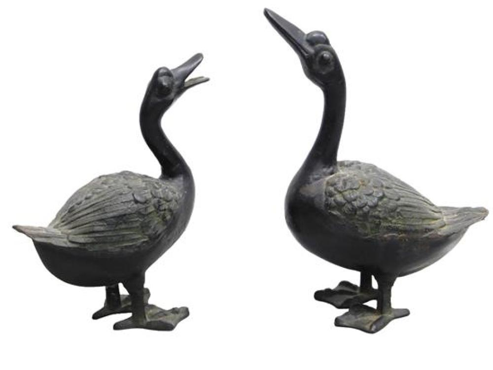 """GARDEN: Pair of iron duck sculptures, 20th C., Japanese, each marked """"Japan"""" to both feet, both with raised feather detail with gree..."""