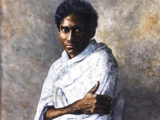 """Allen Blagden (American, b. 1938), """"Raphael"""", watercolor, depicts young man of color facing viewer and wearing a white garment, sign..."""