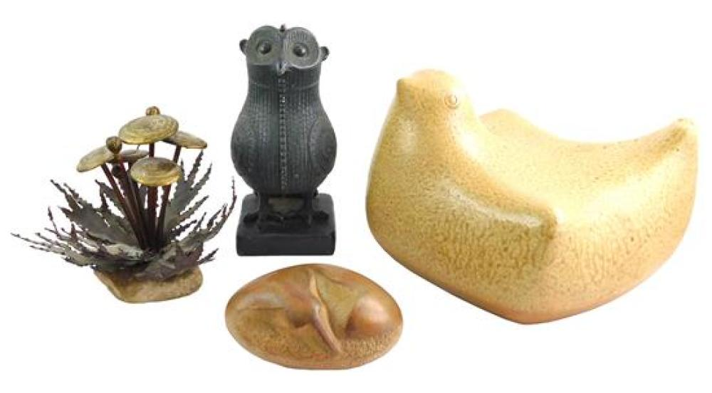 GARDEN: Four sculptures, 20th C., cast stone, metal and ceramic, all but bird signed, details include: copper and gold-tone mushroom...