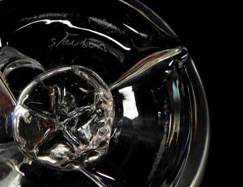 20th C. Steuben clear glass, three pieces: round serving bowl, low undulating rim, on shaped trefoil base, 4 3/4