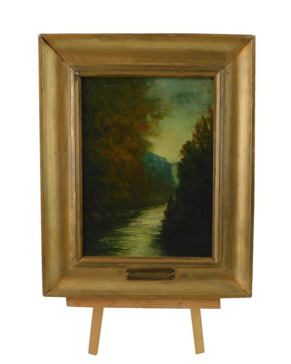 "Oil on board, small landscape with plaque ""Maxwell Foster"", depicts small river running through mountainous forest, unsigned, wear c..."