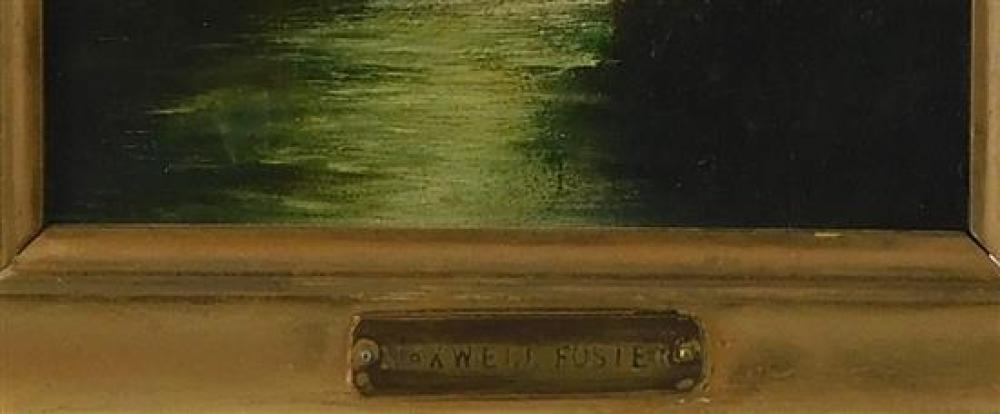 Oil on board, small landscape with plaque