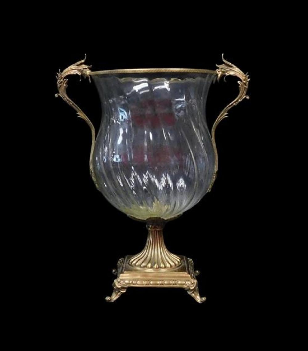 GLASS: Three matching glass and brass urns, bulbous bodies with flared rims, textured brass trim along rims with applied scroll form...