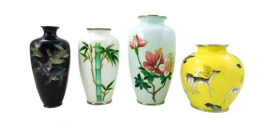 """ASIAN: Four cloisonné vases, including: light blue ground with pink flowers, 7 ¼"""" h.; white ground with green bamboo, 6 ¼"""" h.; black..."""