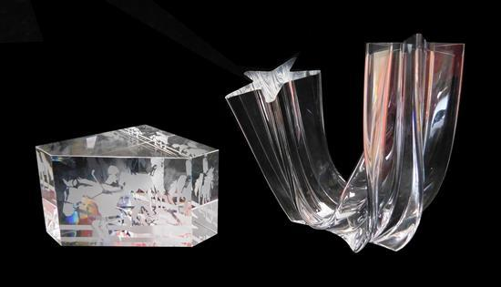 """GLASS: Steuben glass, two pieces, 20th C., including: Steuben """"Star Stream"""" crystal sculpture by Neil Cohen, 1988, 5"""" h.; along with..."""