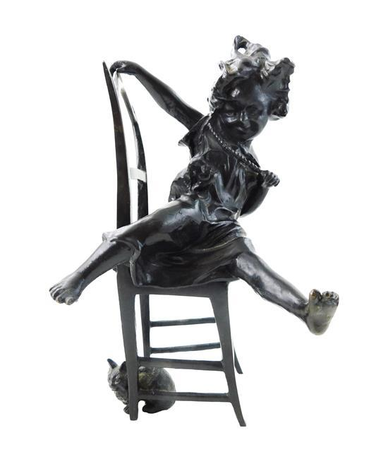 """After A.J. Scotte (French, 1885-1915), bronze sculpture, young woman on chair with two cats, signed """"A J Scotte"""" to chair back, fleu..."""