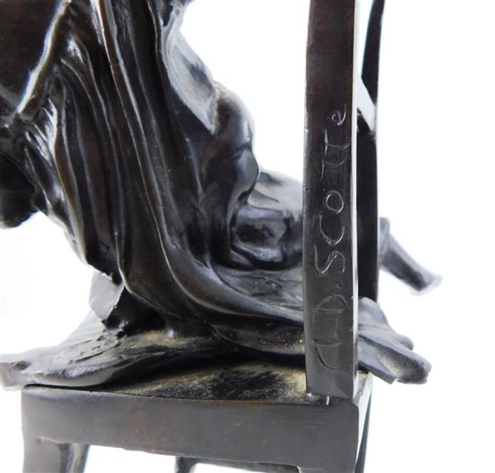 After A.J. Scotte (French, 1885-1915), bronze sculpture, young woman on chair with two cats, signed